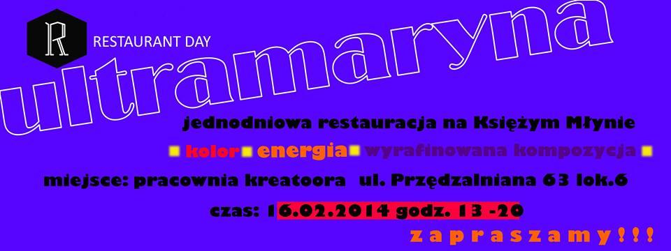 Ultramaryna - jednodniowa restauracja fot. Ultramaryna