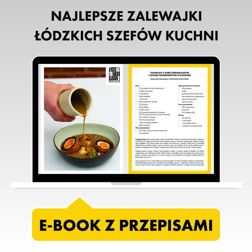 """Grafika przedstawia laptopa, na którego ekranie wyświetla się e-book z przepisami na zalewajkę. Nad laptopem znajduje się napis """"najlepsze zalewajki łódzkich szefów kuchni"""". Pod laptopem znajduje się żółty przycisk z napisem """"e-book z przepisami"""""""