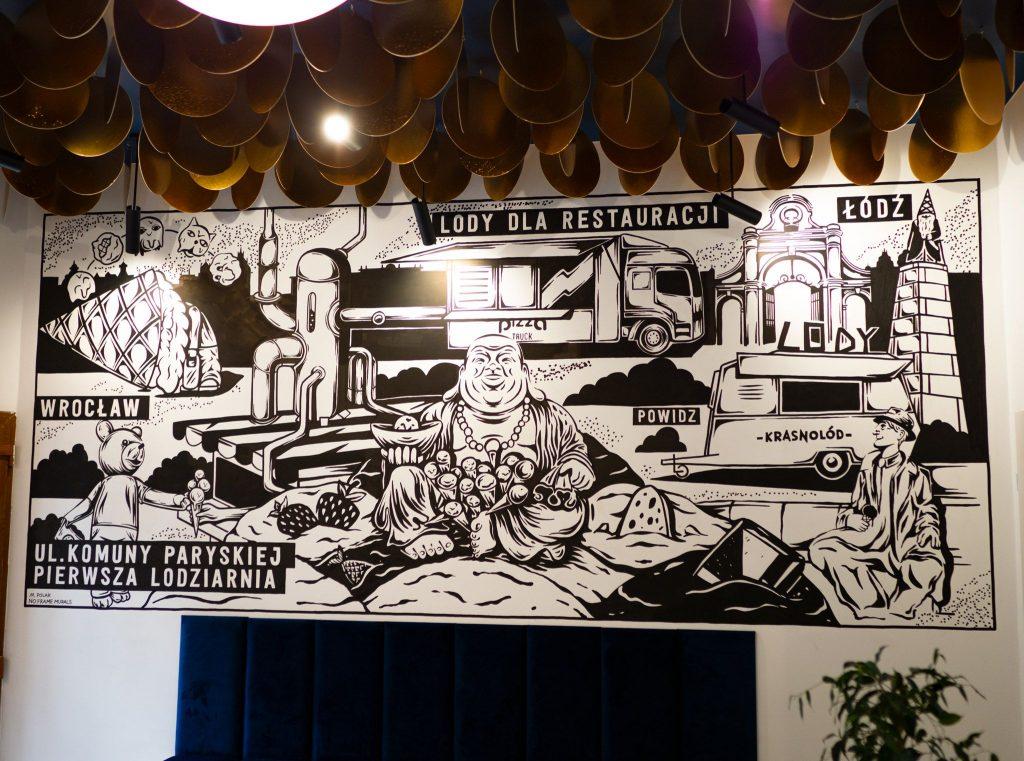 Na zdjęciu widać czarno biały mural opisujący w obrazkach historię lodziarni Krasnolód