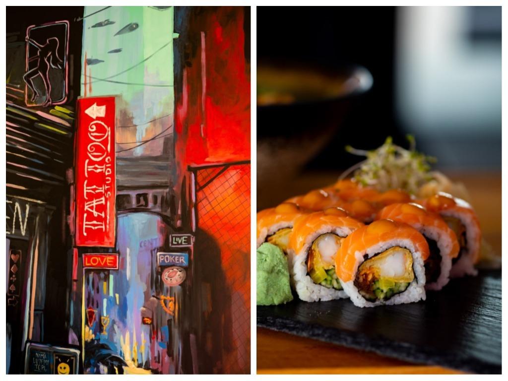 Na zdjęciu widać muram w lokalu Fame Sushi i talerz z sushi.