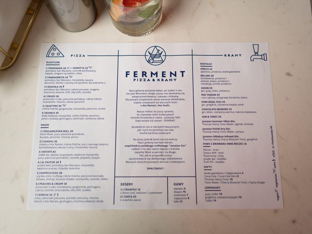 Na zdjęciu widać kartkę z menu pizzerii Ferment.