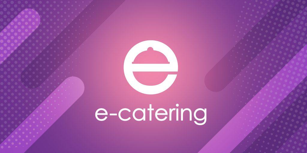 Na zdjęciu widać logo firmy e-catering na fioletowym tle.